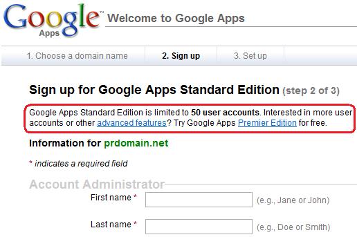 Google Apps 限制 50 个用户