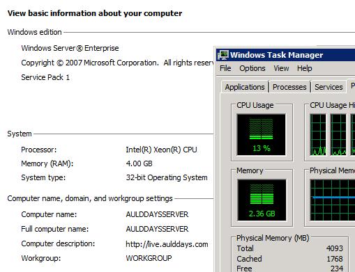 Server 2008 4G 内存